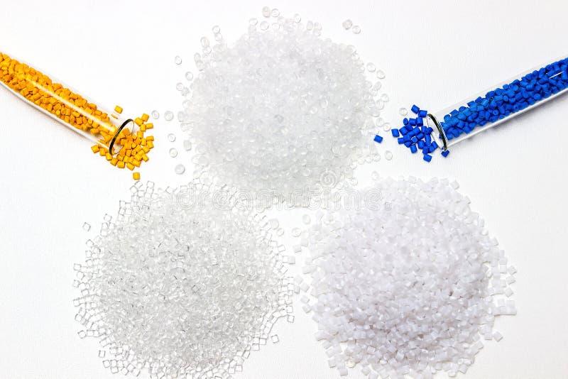 Polymeric dye. Colorant for plastics. Pigment in the granules. Polymeric dye. Plastic pellets. Colorant for plastics. Pigment in the granules stock photo