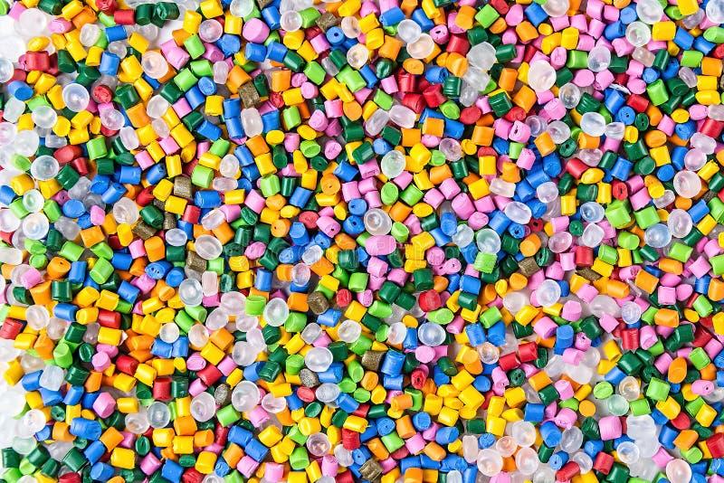 Polymerische Färbung Plastikkugeln Pigment in den Körnchen Polymerperlen stockfotos