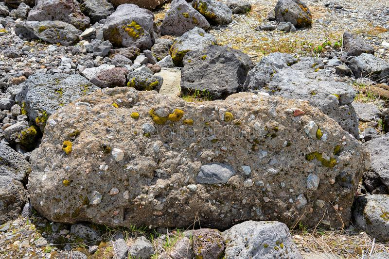Polymictic conglomerate of volcanic origin royalty free stock photos