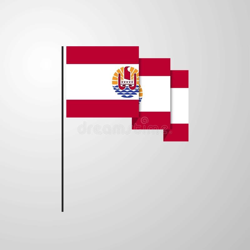Polynésie française ondulant le fond créatif de drapeau illustration de vecteur