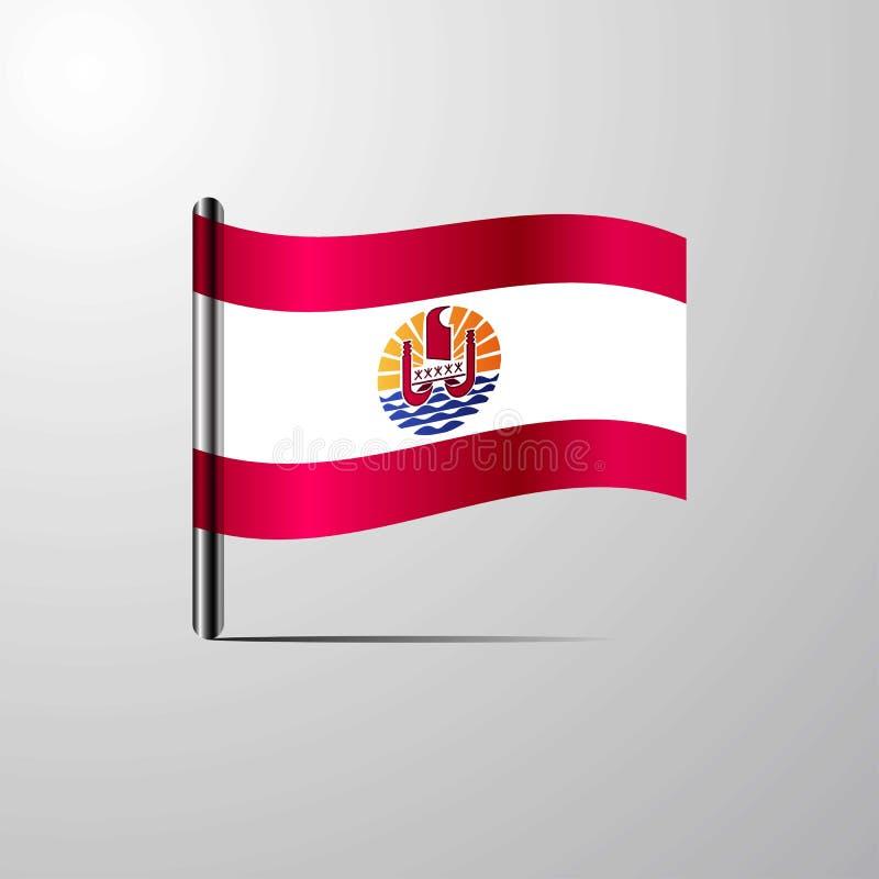 Polynésie française ondulant le vecteur brillant de conception de drapeau illustration stock