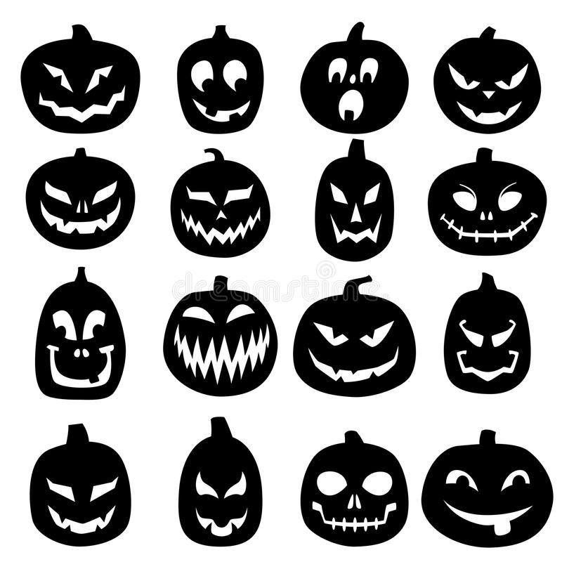 Jack O Lantern Carved Pumpkin Icons. Set of 16 hand drawn Jack O Lantern carved pumpkin illustrations. Black silhouettes isolated on white stock illustration