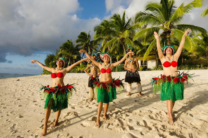 Polynesian Pacific Island Tahitian Dance Group stock photos