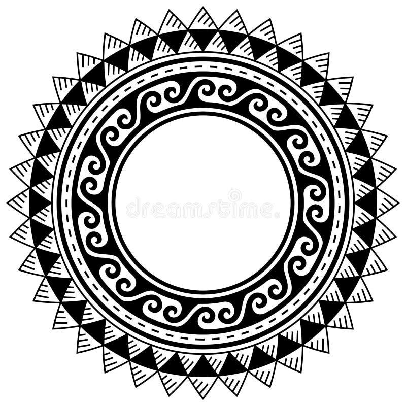 Free Polynesian Tattoo Style Mandala Vector Pattern, Hawaiian Tribal Gemetric Frame Or Border Design Royalty Free Stock Images - 220832749