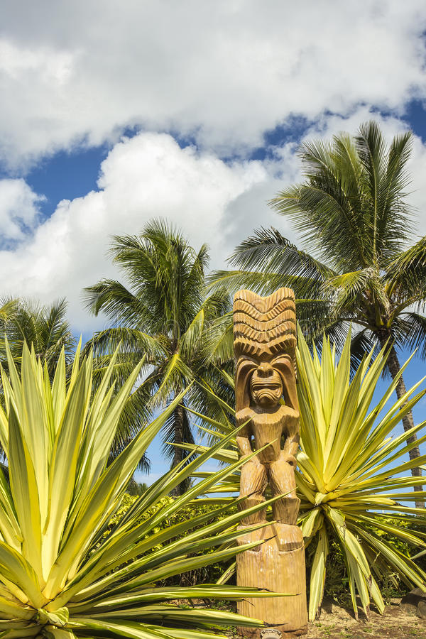 Polynesian Tiki. A wooden Polynesian tiki carving on Oahu, Hawaii stock images