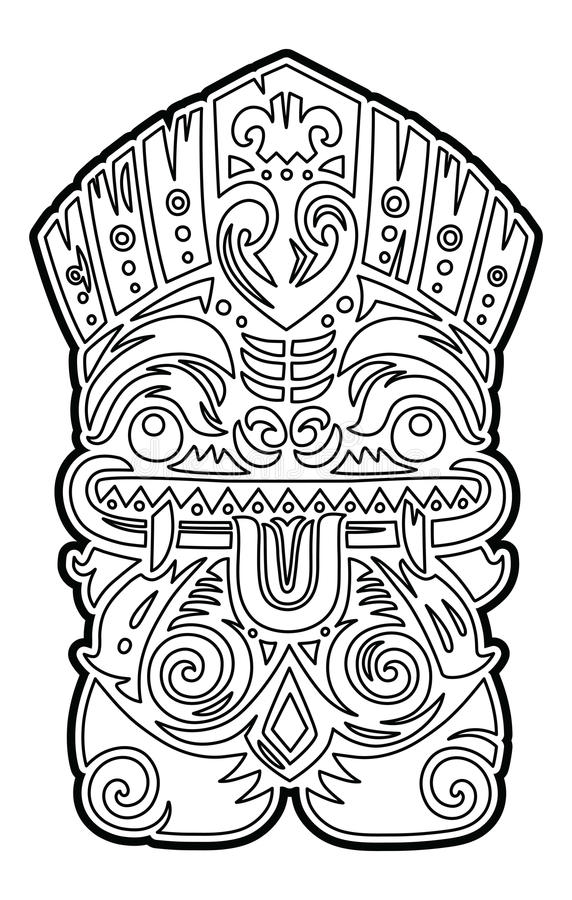Polynesian Tiki Totem Vector Idol Mask. Coloring Page Stock Vector ...