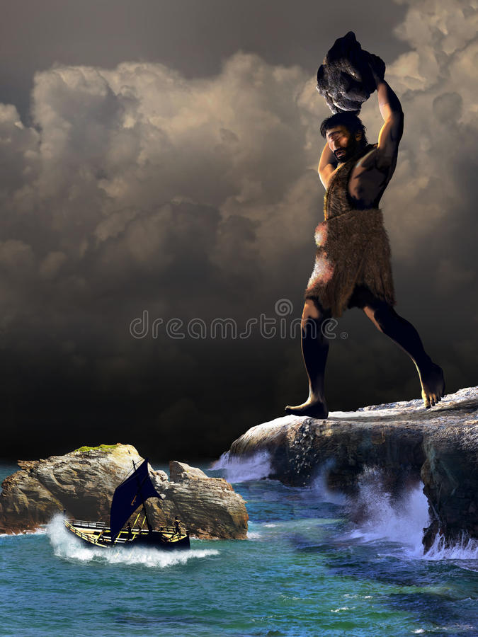 Polyphemus and Odysseus royalty free illustration