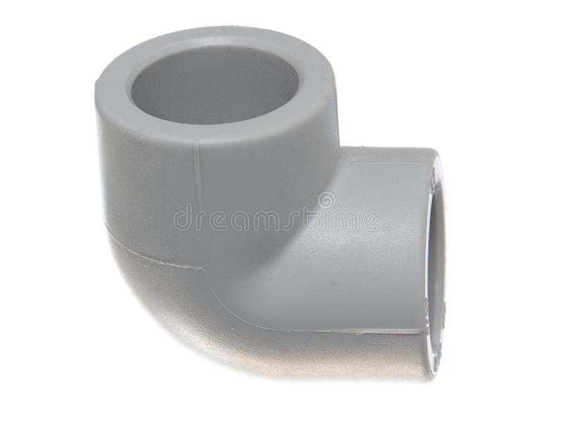 Polypropylene (PVC) fittings on white background. Polypropylene (PVC) fittings for plumbing and sanitary system stock images