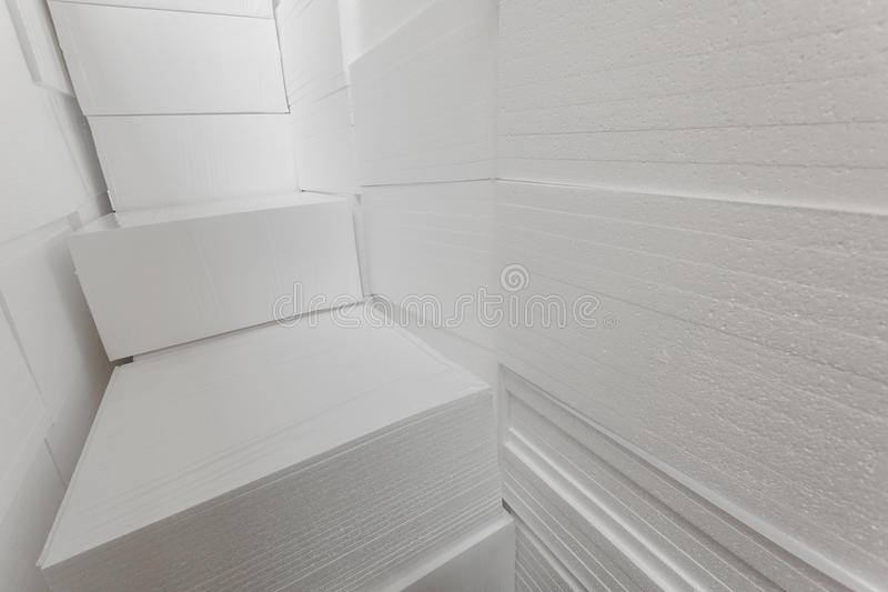 Polystyrene insulation boards royalty free stock photography