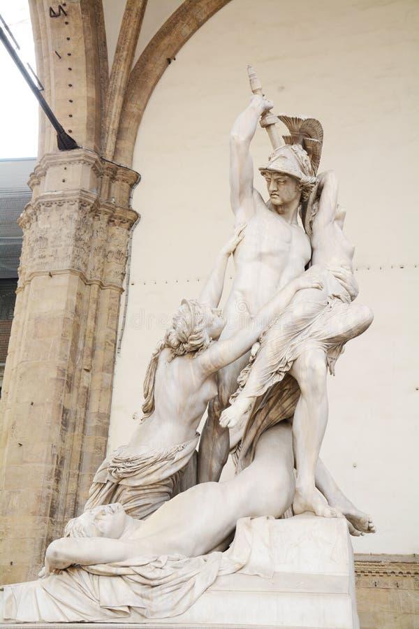 Polyxena强奸由Pio Fedi的在佛罗伦萨,意大利 库存图片