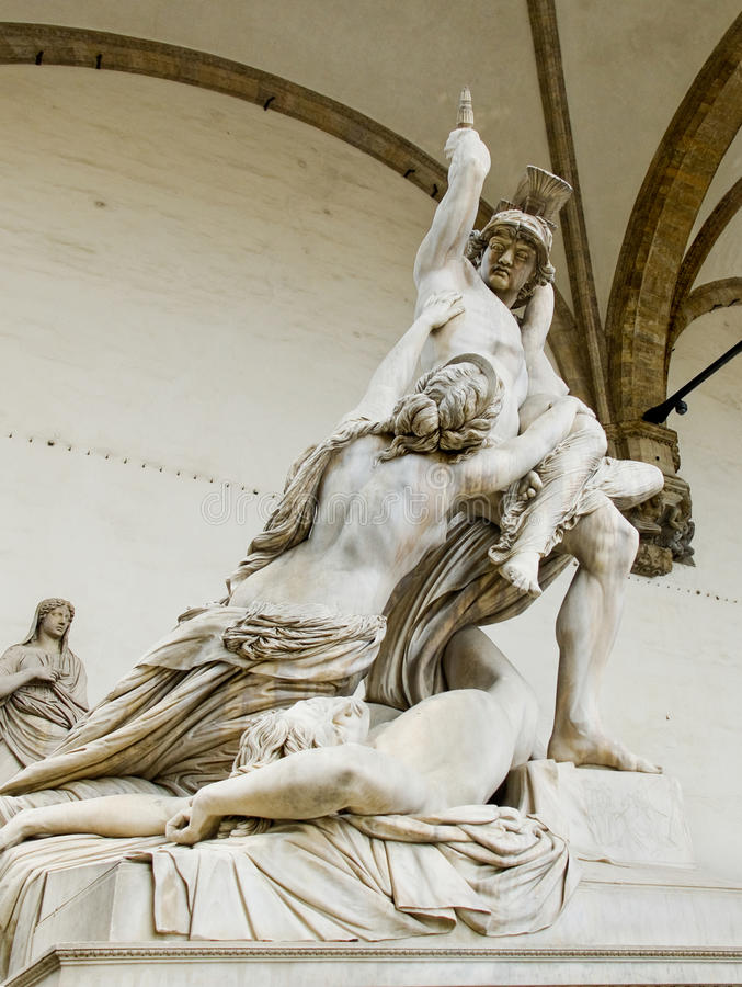 Polyxena雕塑强奸在凉廊della Signoria的。Florenc 免版税图库摄影
