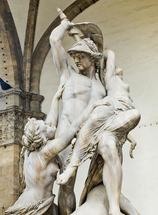 Polyxena雕塑强奸在凉廊della Signoria的。Florenc 库存图片