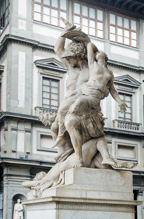 Polyxena雕塑强奸在凉廊della Signoria的。Florenc 库存照片