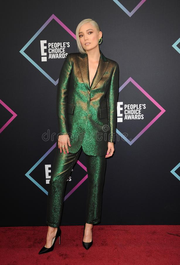 Pom Klementieff. At the 2018 People`s Choice Awards held at the Barker Hangar in Santa Monica, USA on November 11, 2018 stock images