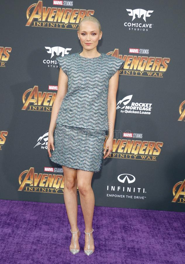 Pom Klementieff. At the premiere of Disney and Marvel`s `Avengers: Infinity War` held at the El Capitan Theatre in Hollywood, USA on April 23, 2018 royalty free stock photography