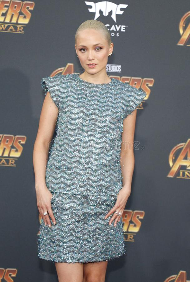Pom Klementieff. At the premiere of Disney and Marvel`s `Avengers: Infinity War` held at the El Capitan Theatre in Hollywood, USA on April 23, 2018 royalty free stock images