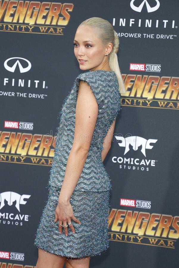Pom Klementieff. At the premiere of Disney and Marvel`s `Avengers: Infinity War` held at the El Capitan Theatre in Hollywood, USA on April 23, 2018 stock photo