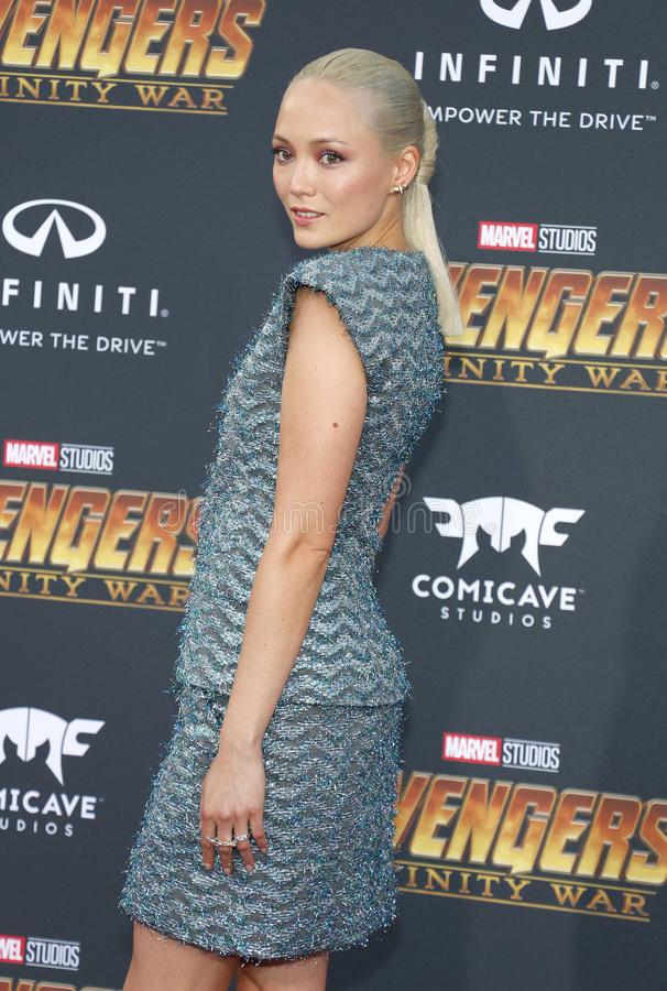Pom Klementieff. At the premiere of Disney and Marvel`s `Avengers: Infinity War` held at the El Capitan Theatre in Hollywood, USA on April 23, 2018 stock photography