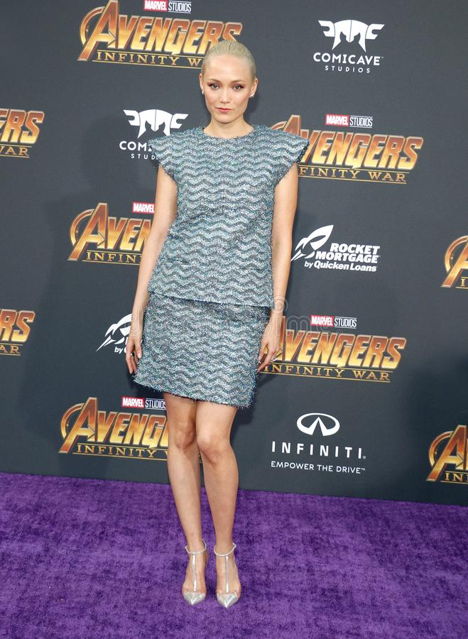 Pom Klementieff. At the premiere of Disney and Marvel`s `Avengers: Infinity War` held at the El Capitan Theatre in Hollywood, USA on April 23, 2018 royalty free stock image