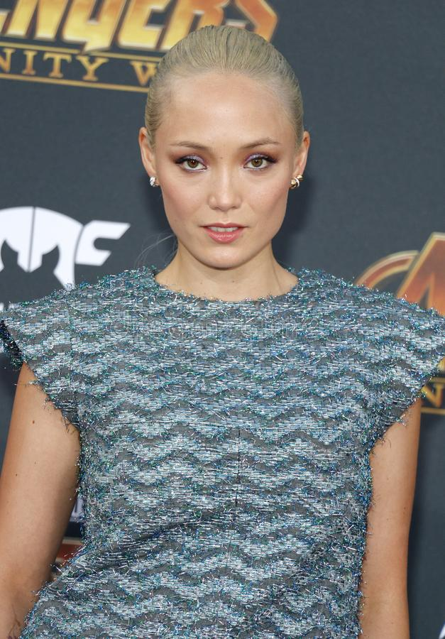 Pom Klementieff. At the premiere of Disney and Marvel`s `Avengers: Infinity War` held at the El Capitan Theatre in Hollywood, USA on April 23, 2018 royalty free stock photos