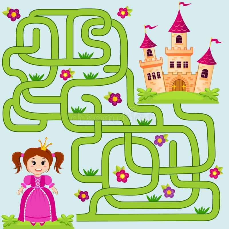 Pomaga małej ślicznej princess znaleziska ścieżce roszować labitynt Dla dzieciaków labirynt gra ilustracja wektor