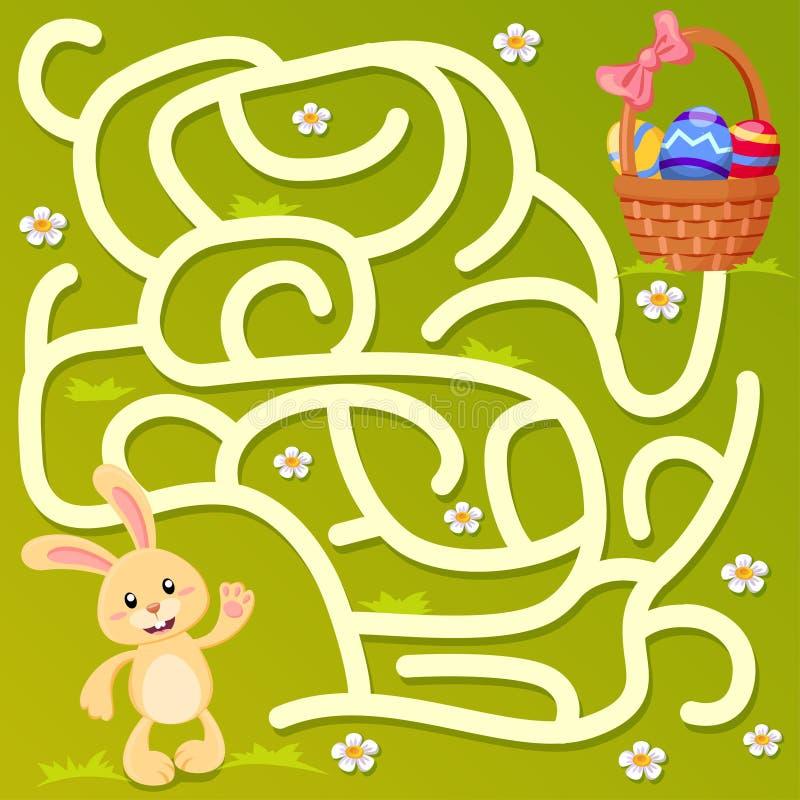 Pomaga małej królika znaleziska ścieżce Wielkanocny kosz z jajkami labitynt Dla dzieciaków labirynt gra ilustracja wektor