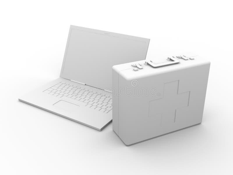 pomaga pierwszy laptop ilustracja wektor