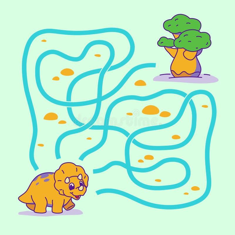 Pomaga szczęśliwego Dino znajdować prawą ścieżkę drzewo labitynt Dla dzieciak?w labirynt gra ilustracji