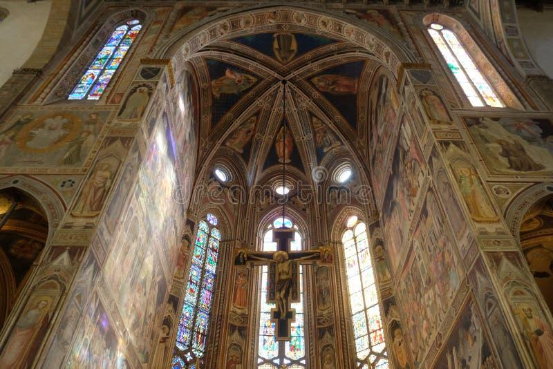 Pomalowany przez Maestro Di Figline krzyżyk drewniany, bazylika św. Mikołaja we Florencji zdjęcia stock