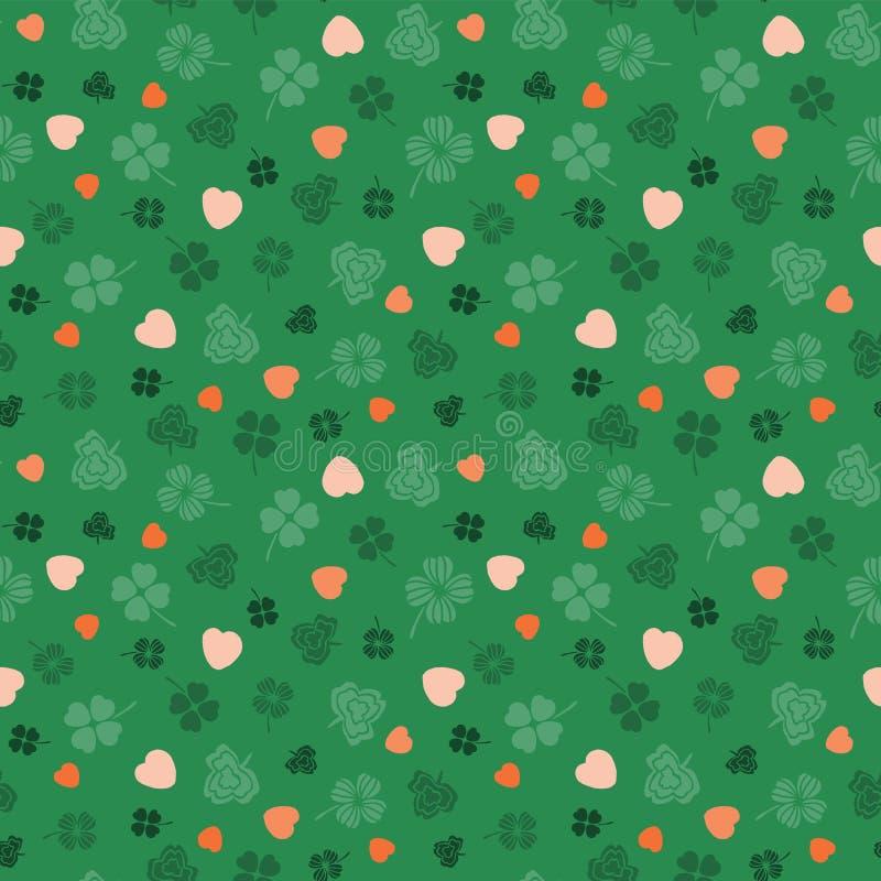 Pomarańcze i zieleni symboli/lów Irlandzki projekt z wektor bezszwowy wzoru ilustracji