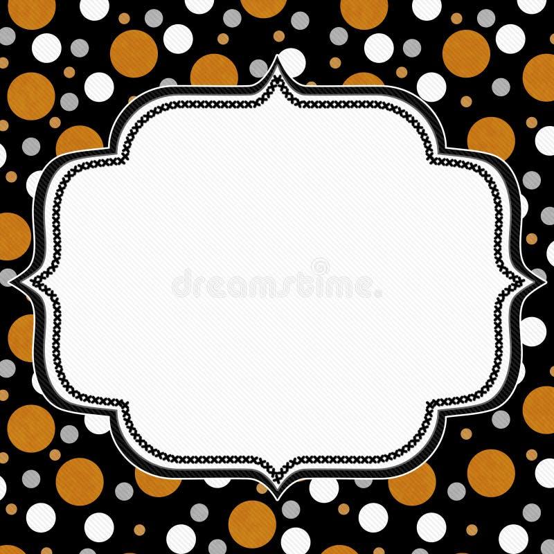 Pomarańcz, Białego i Czarnego polki kropki ramy tło, royalty ilustracja