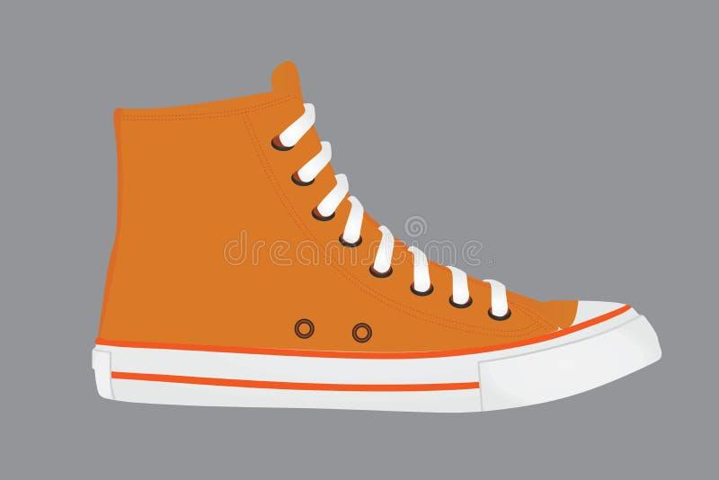 Pomarańcz dłudzy brezentowi sneakers royalty ilustracja