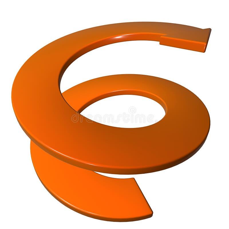 Pomarańcze ślimakowata strzała 3D ilustracja wektor