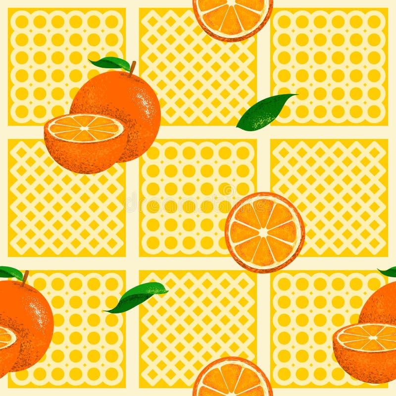 Pomarańcze bezszwowy wzór z ręka rysującą stylową ilustracją royalty ilustracja