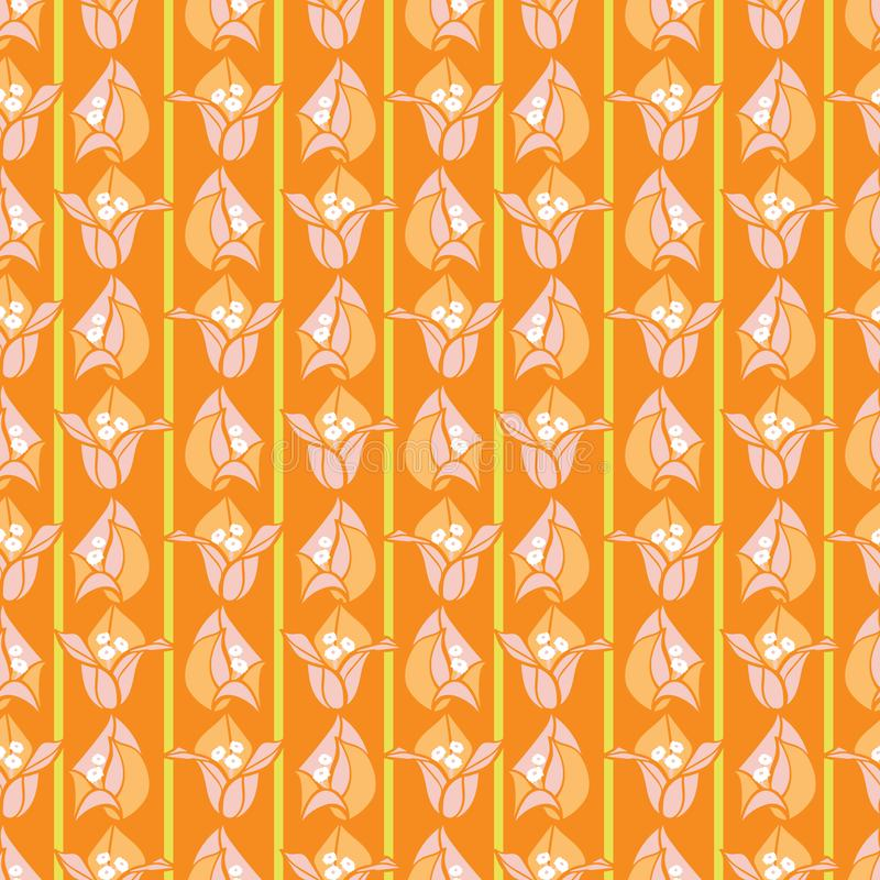 Pomarańcze bougainvillea różowy kwitnący kwiat paskuje lato wektoru kwiecistego bezszwowego wzór dla tkaniny, tapeta ilustracja wektor