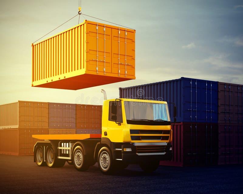 Pomarańcze ciężarówka na tle sterta frachtowi zbiorniki royalty ilustracja
