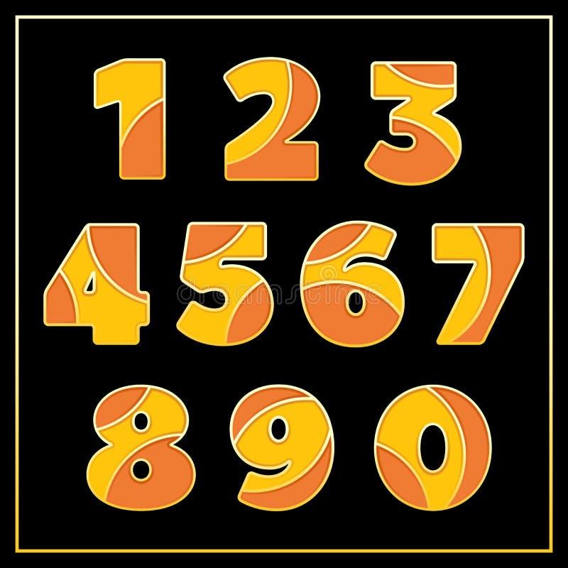Pomarańcze emalii liczb jewerly stylizujący projekt ilustracja wektor