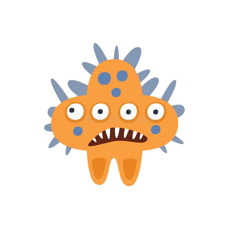Pomarańcze gwiazdy kształta bakterii Agresywny Zły potwór Z Ostrych zębów kreskówki wektoru ilustracją ilustracji