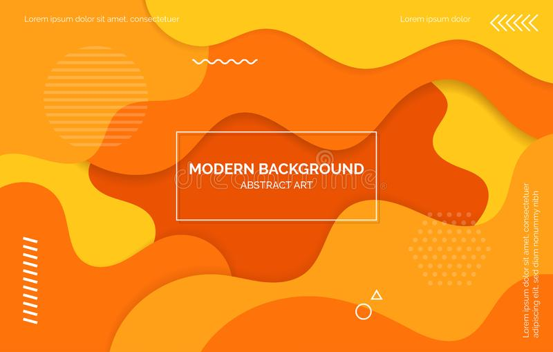 Pomarańcze i koloru żółtego fal tło, sztandar, układ z tekst przestrzenią, abstrakcjonistyczni elementy ilustracji