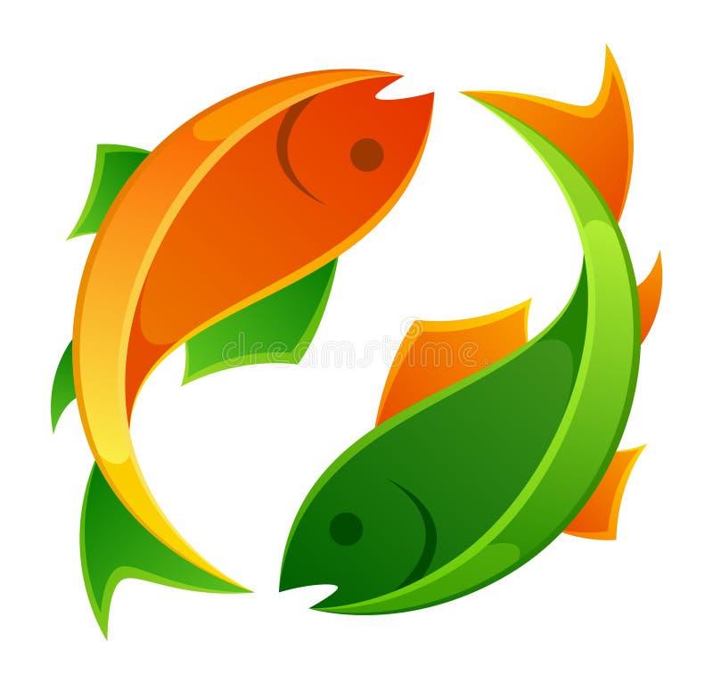 Pomarańcze i zieleni ryba royalty ilustracja