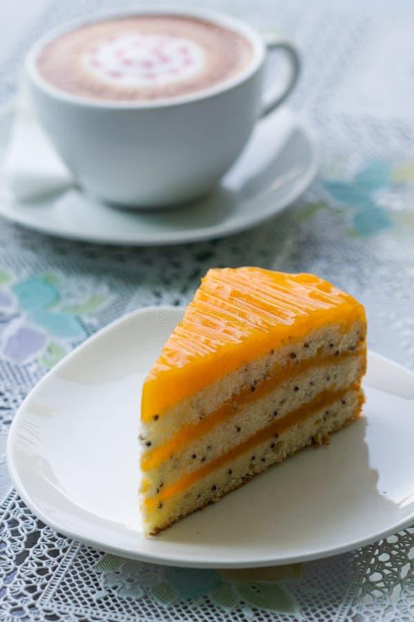 Pomarańcze kawa i tort fotografia royalty free