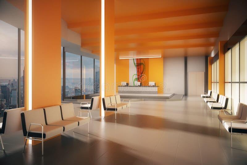 Pomarańcze lobby z NY widokiem royalty ilustracja