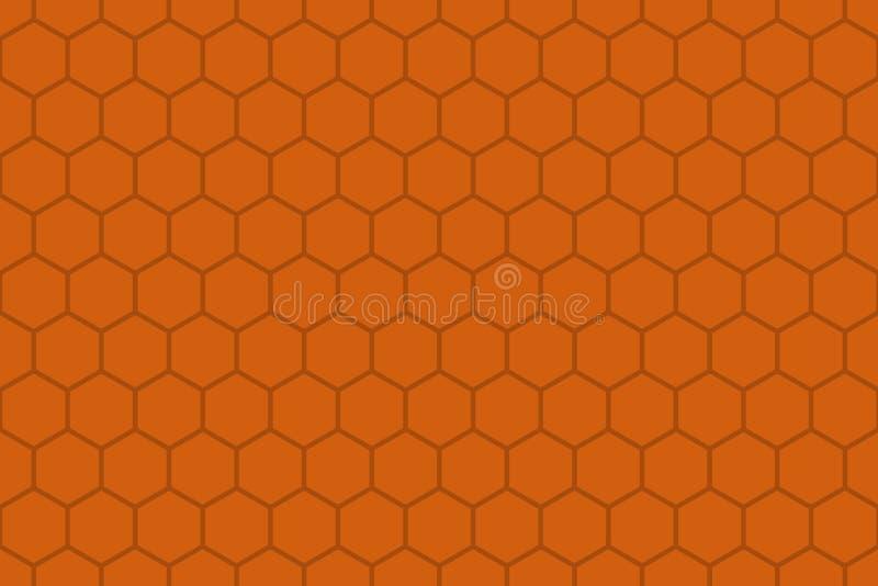 Pomarańcze lub brązu koloru Honeycomb siatki płytki bezszwowy tło lub Heksagonalna komórki tekstura ilustracja wektor