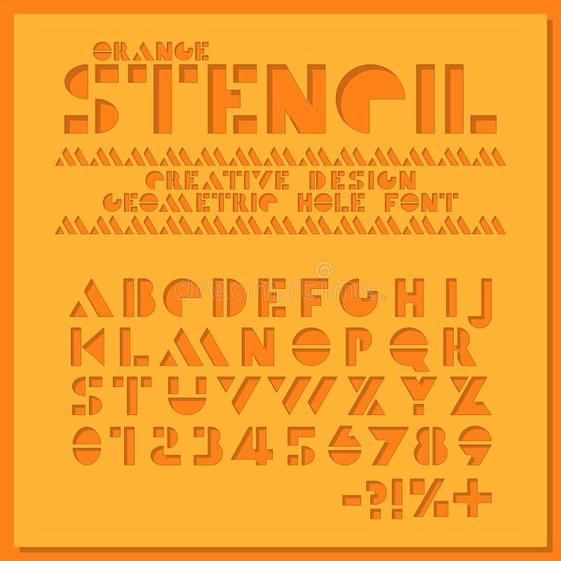 Pomarańcze matrycuje geometrycznej chrzcielnicy Koloru papieru typeface rżnięty abecadło Dziur liczby sans serif i listy kreatywn ilustracji