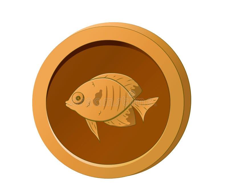 Pomarańcze moneta z wizerunkiem ryba Wektorowa ilustracja dla gemowego projekta royalty ilustracja