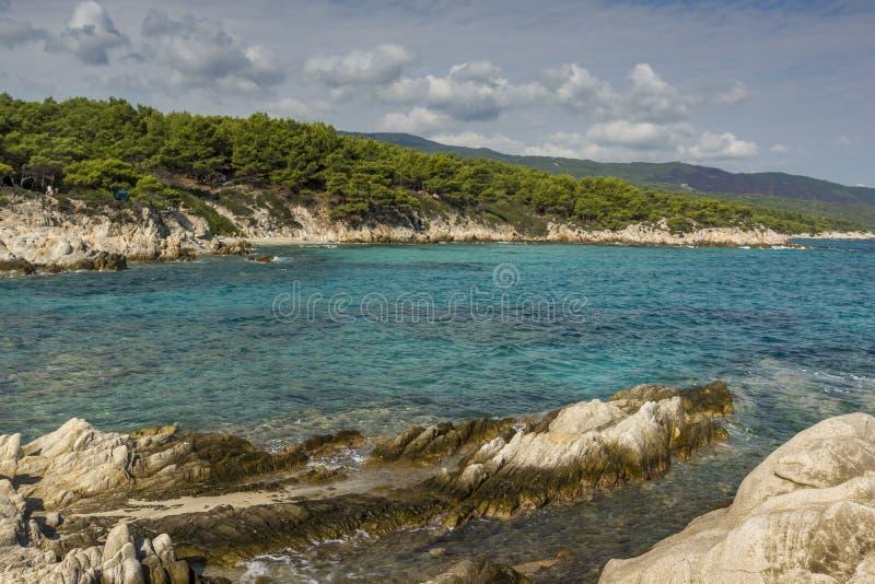 Pomarańcze Plażowy Kavourotripes, Chalkidiki, Sithonia, Środkowy Macedonia fotografia stock