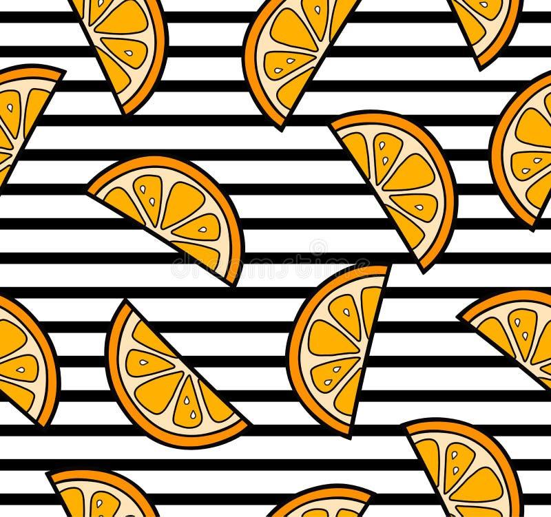 Pomarańcze pokrajać lato bezszwowego wzór ilustracja wektor