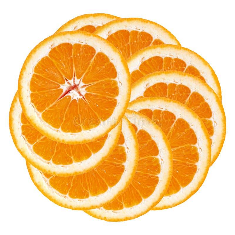 Pomarańcze Pomarańcze plasterki brogujący w okręgu odosobniony biały backgr obraz stock
