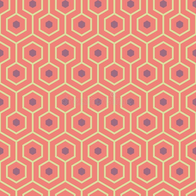 Pomarańcze, purpura, żółtej zieleni meandering geometryczni sześciokąty Bezszwowy wektoru wzór z gorącym lato klimaty Wielki zdró ilustracji