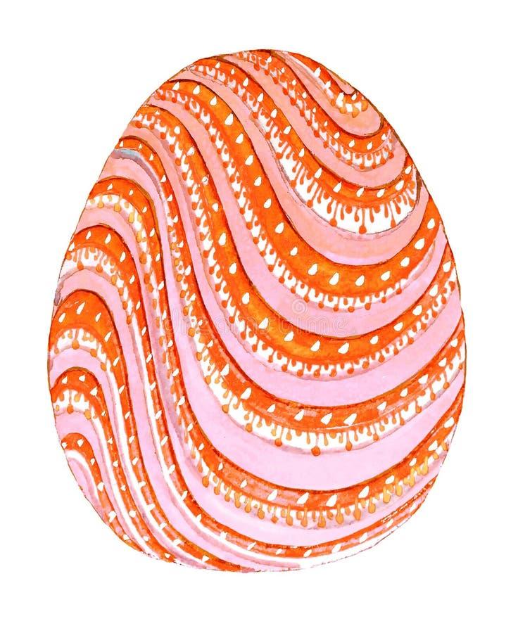 Pomarańcze różowa wielkanoc malował jajko z białymi kropkami royalty ilustracja